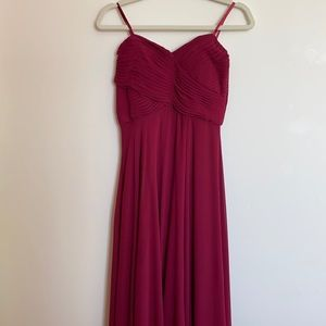 Sequin Hearts Cranberry Strapless Long Gown Size 7
